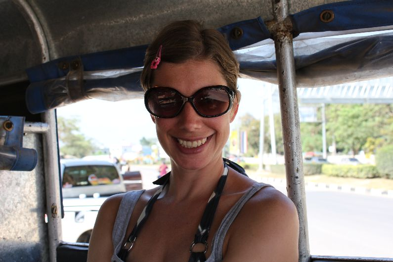 Cruising in a jumbo, Thailand. A hair clip keeps things nice and tidy while burning around.