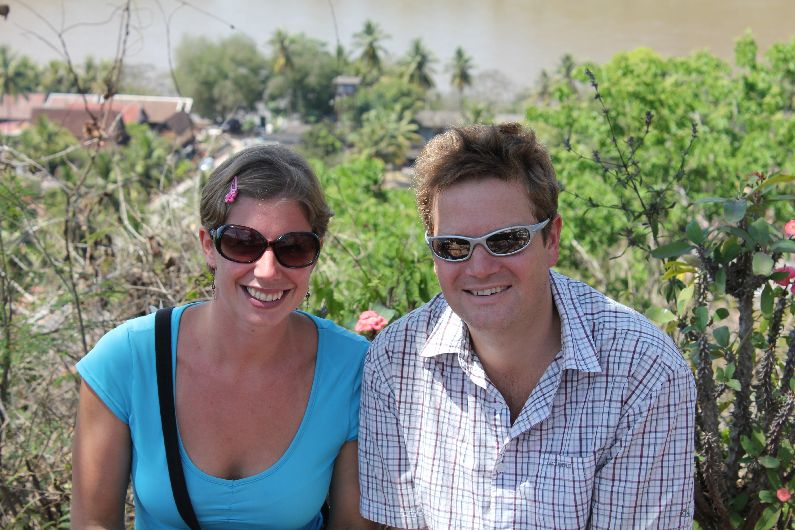 Ben Bonus! Top of the hill in Luang Prabang, Laos. We just had cut each other's hair...and amazingly were both dead-chuffed with the results!