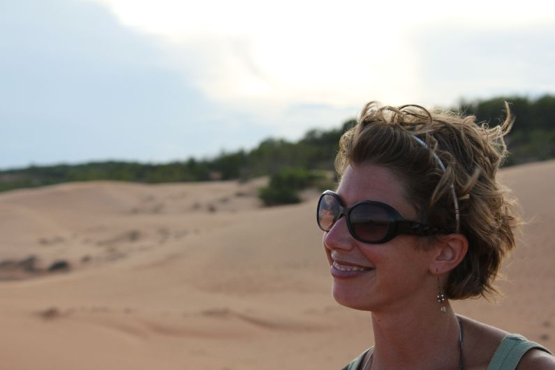 Sand dunes of Mui Ne, Vietnam. Even the magic-fix alice band struggles to cope with the stiff sea breeze