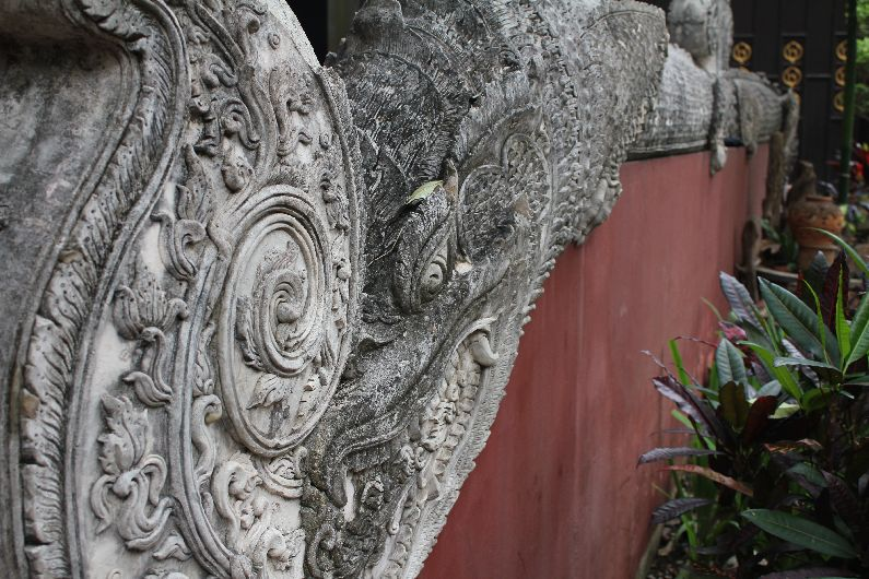 Intricate work extends outside the temples