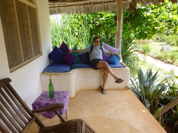 Relaxing outside our room at Matemwe Beach Village. One of the cheaper rooms but still decent enough.