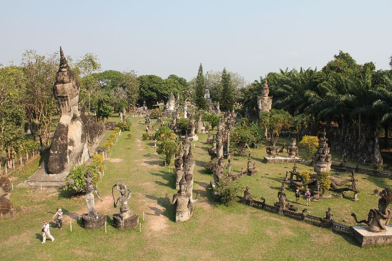 View of the Buddha park from the top of the giant pumpkin