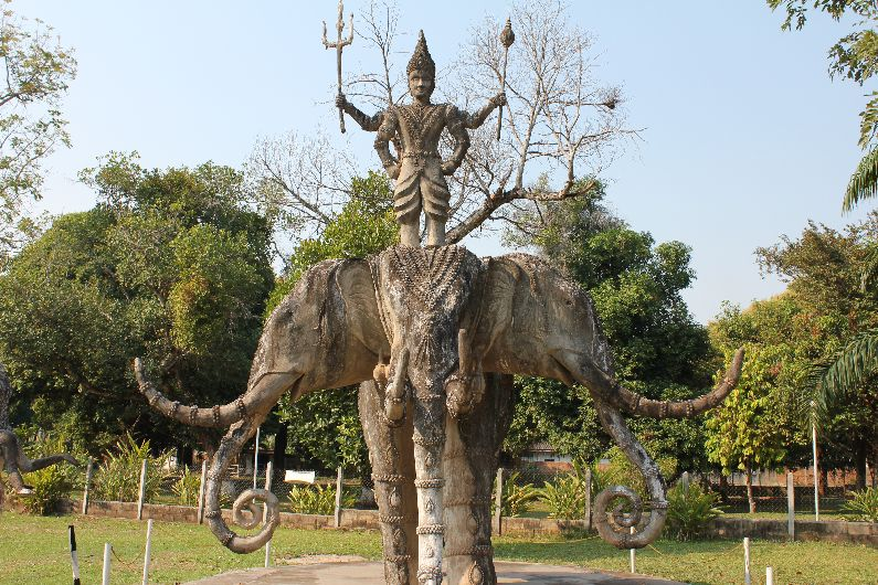 Three-headed elephant, a common Buddhist symbol, especially in Laos, the land of a million elephants