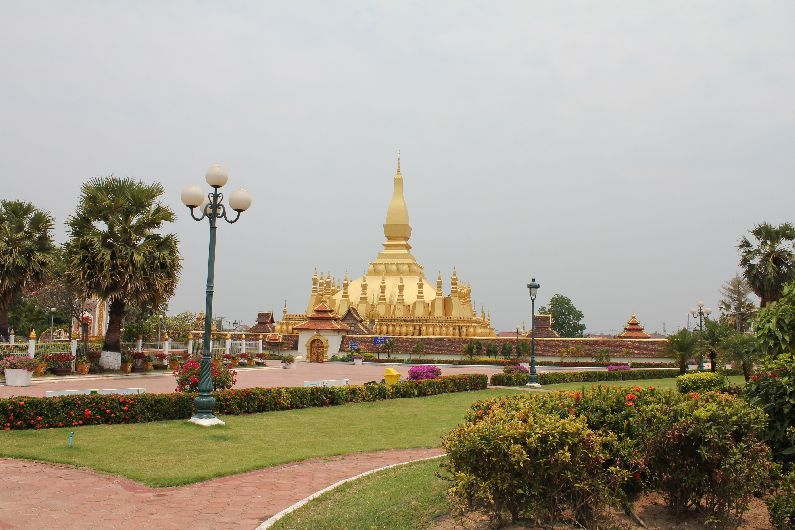 The National Monument in Vientiane, Laos. Best viewed from afar - don't bother paying the admission fee for a closer look
