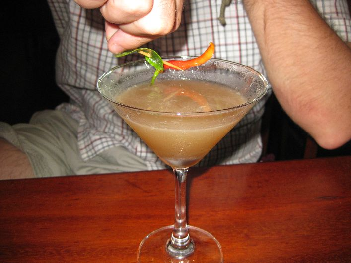 Tom Yam Cocktail, a blended mix of the ingredients of the dish, compete with a chilli