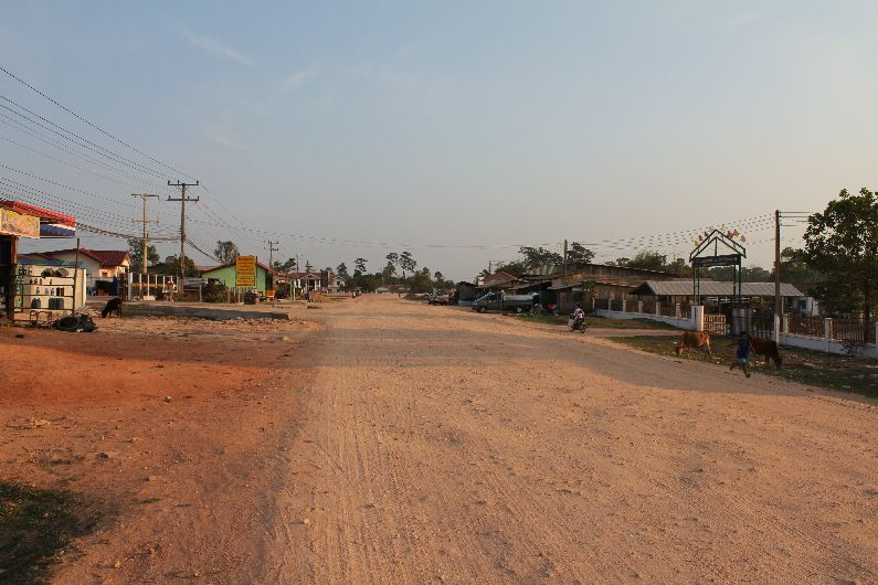 The dusty road through Nakai, a small town in East Laos