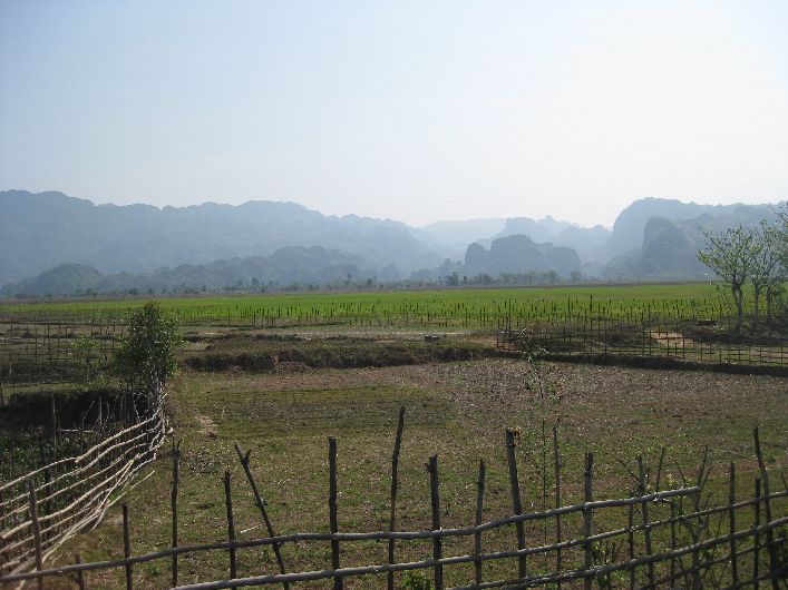 Villages and fields nestled between the karst formations