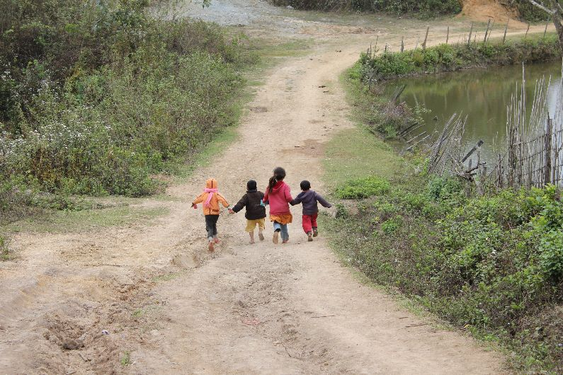 Playful children in Northern Laos