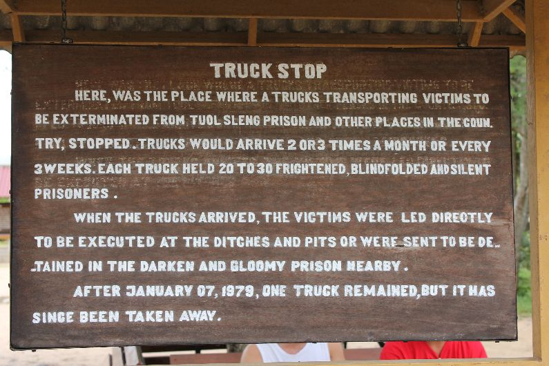 Truck stop sign at the killing fields