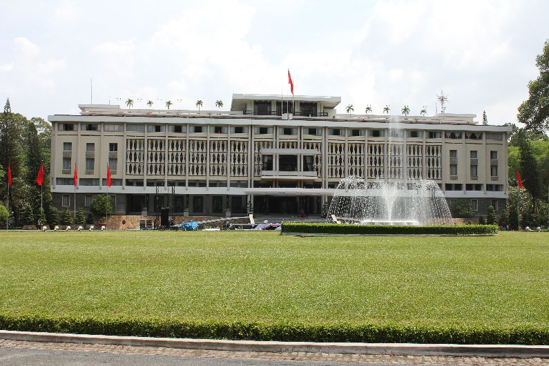 The Reunification Palace, where north Vietnamese tanks broke through the front gates to bring an end to the civil war