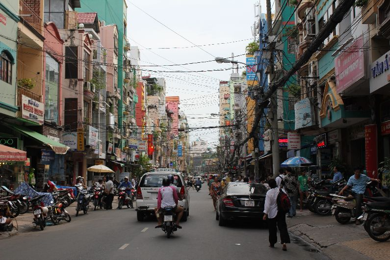 One of the hectic busy streets of Saigon