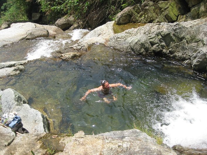 Having a refreshing wash in our own private jungle plunge pool
