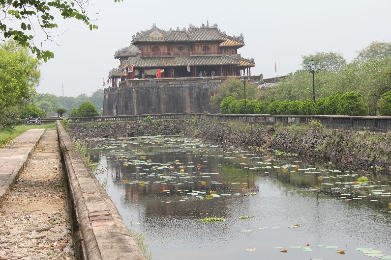 The inner moat, the lotus pads and the Ngo Mon gate - the main entrance into the Imperial Citadel.