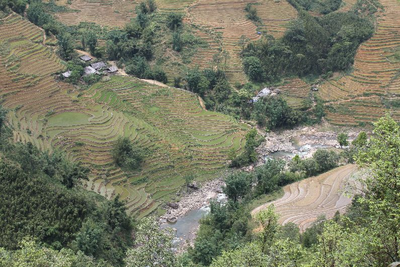 The whole valley is used for the rice terraces
