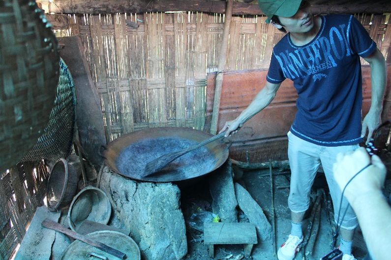 In one of the poorer village huts, this was the cooking area used to prepare animal feed