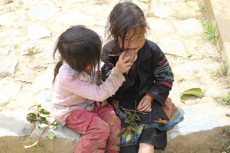 The Sapa kids take a break from picking fruit