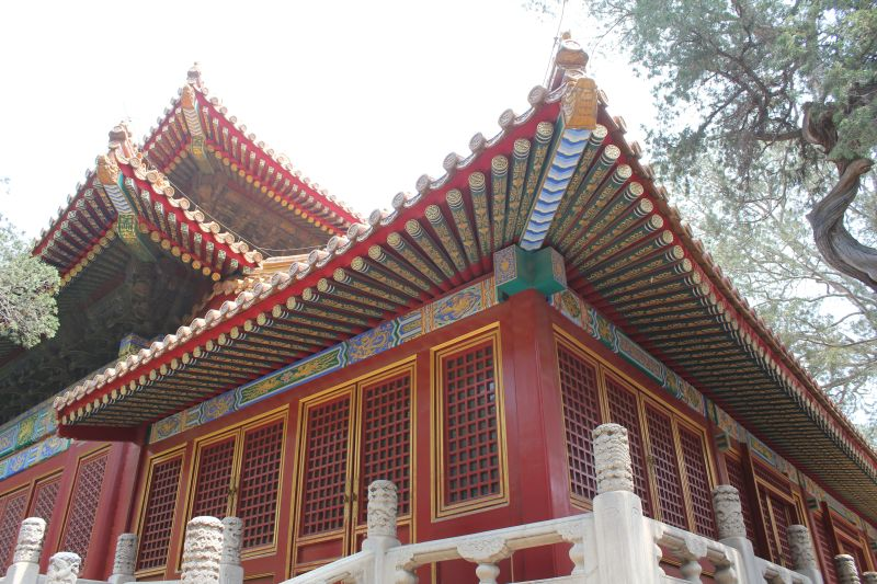 One of the palaces at the Forbidden City, set amongst courtyards and trees