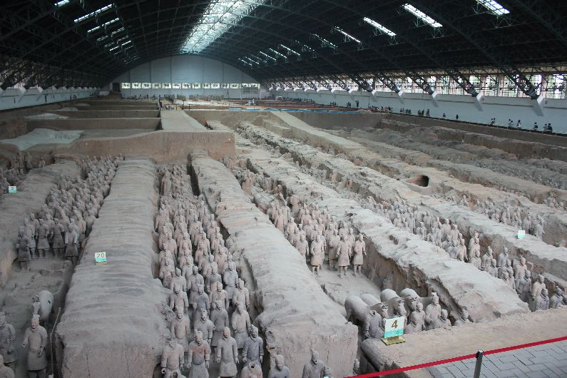Row upon row of Terracotta Warriors in the air-craft hanger of Pit 1