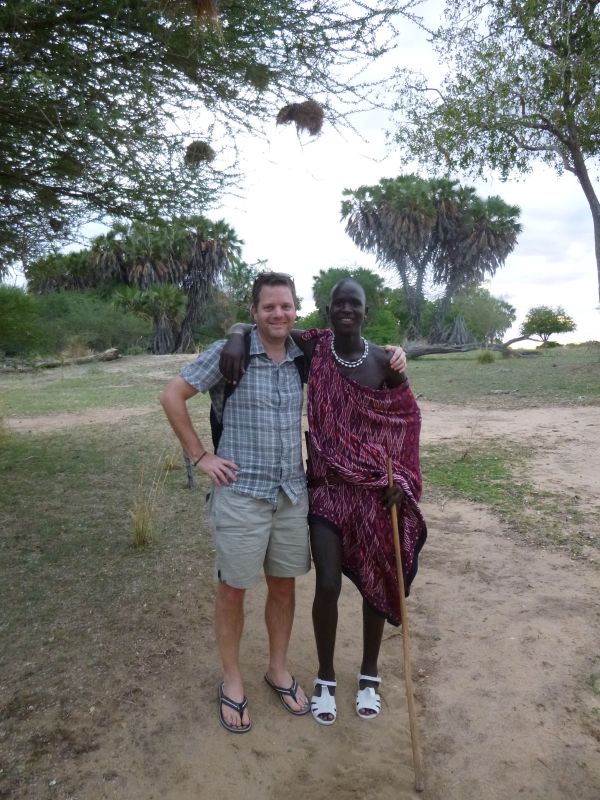 Ben with one of the Massai body guards at Lake Manze Camp