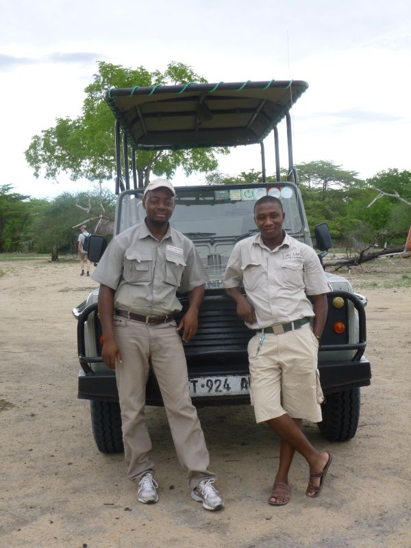 Our driver Emmanuelle (left) and guide Samuel. They helped to make the safari experience as special as it was.