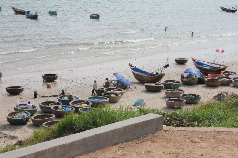 Round boats on the beach near Mui Ne.