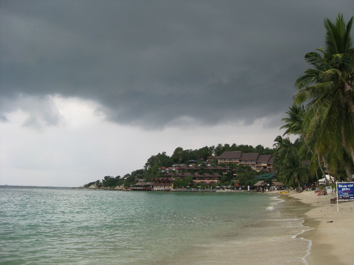 Dark clouds over Haad Yao beach Koh Phangan