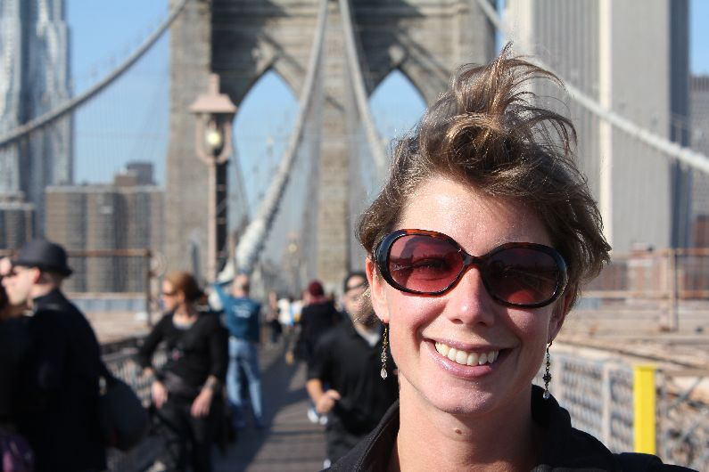 The amazing Brooklyn Bridge, New York - Carly's hair is impressively vertical.
